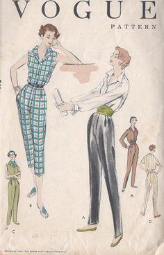 Vintage 1955 Misses' Blouse Slacks Capri by CottageLaneTreasures