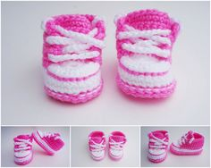 Crochet Baby Shoes. Converse Style Crochet Sneakers. Girls Sneakers. Pink and…