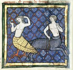 Bird Sirens from medieval manuscripts by moonflygirl, via Flickr