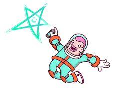 Brwn dribbble spaceman