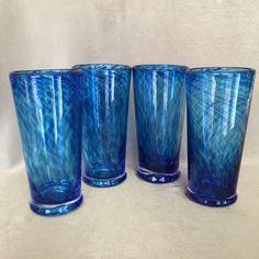 Hand Blown Glasses Cobalt Blue Swirl Large Tall by DotnBettys
