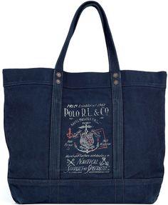 NWT Men's RALPH LAUREN POLO Aviator Navy Canvas Tote Bag  $165