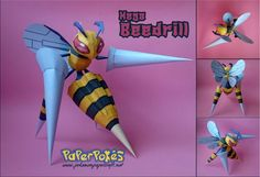 This pokemon papercraft is Mega Beedrill, a dual-type Bug/Poison Pokémon, based on the anime / game Pokemon, the paper model was created by Olber. 3d Paper Crafts, Paper Toys, Paper Art, Diy And Crafts, Papercraft Pokemon, Papercraft Download, Paper Pocket, Pokemon Party, Paper Animals