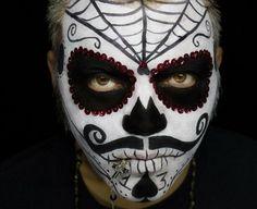 maquillajes de Halloween opciones blanco negro hombres ideas