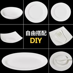 Ceramic plate 8 inch dish plate set white bone china chinese household disk platter Platter
