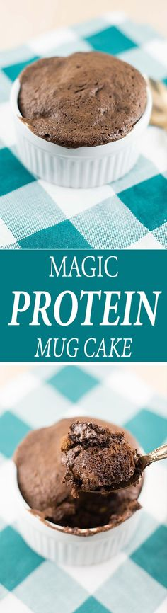 A gluten free recipe for chocolate protein mug cake made using avocado, cacao powder, protein powder, maple syrup, and a few simple ingredients.