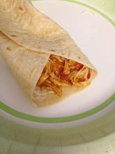 Only 4 Ingredients! CROCK POT taco chicken burritos. These are sooo yummy & easy and THE KIDS LOVE THEM!   LOW fat & calories