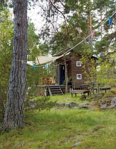"""The Swedish have a pet name for tiny cabins:friggebod,aportmanteau of Birgit Friggebo's surname and the word """"bod: (meaning """"shed. """"Friggebo was Sweden's Minister for Housing from 1978-1982 and during her tenure abolished permits for dwellings 10 sq. meters (~110 sq ft) or smaller."""