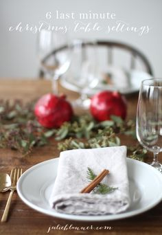 6 last minute Christmas table settings - all for about $10 in 10 minutes or less!