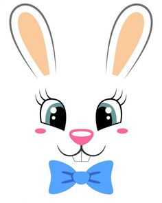 Coelhinho bonito com gravata de borboleta. Imprimir com rosto de coelho para t-shirt — Ilustração de Stock Bunny Crafts, Easter Crafts, Christmas Crafts, Paw Print Art, Diy Ostern, Bunny Face, Animal Faces, Cute Bunny, Spring Crafts