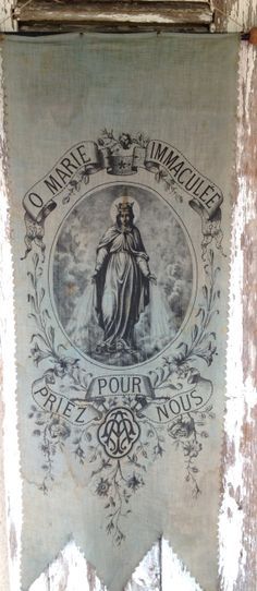 1800s antique French religious banner from histoire ancienne.        www.etsy.com/shop/histoireancienne