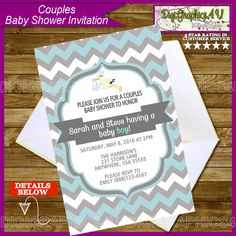 Printable Couples Baby Shower Invitation for by DigiGraphics4u