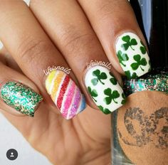 St. Patrick's Day mani from @Lifeisnails using our Clover  Nail Decals Found at: snailvinyls.com