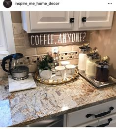 My coffee bar in my kitchen is def the highlight of my morning! che… My coffee bar in my kitchen is def the highlight of my morning! check out my personal page for sources. ❤️ More - Style Of Coffee Bar In Kitchen Diy Kitchen Decor, Kitchen Redo, New Kitchen, Kitchen Dining, Diy Home Decor, Kitchen Ideas, Kitchen Corner, Coffee Kitchen Decor, Coffee Station Kitchen