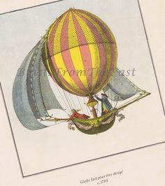 HOT AIR BALLOON Vintage Lithograph c.1785