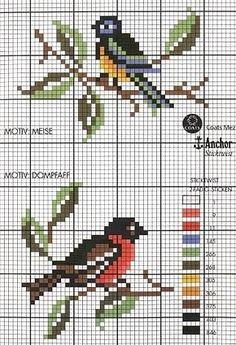 Crosstitch Birds -  Kohlmeise Vogel - Tit bird http://media-cache-ec0.pinimg.com/originals/4c/b9/a5/4cb9a562081a7be3f72ebc516f5a02b1.jpg