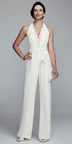 Halter crepe wedding jumpsuit by DB Studio featuring a lace trim deep v-neckline with lace back