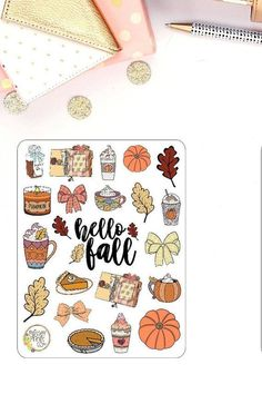 Hello Fall Planner Stickers - - ALL PaisleyPrintsCo stickers are printed on matte sticker paper!You will receive one sheet as pictured! Bullet Journal Cover Ideas, Bullet Journal Banner, Bullet Journal Art, Bullet Journal Inspiration, Autumn Bullet Journal, Bullet Journals, Planner Stickers, Journal Stickers, Autumn Doodles