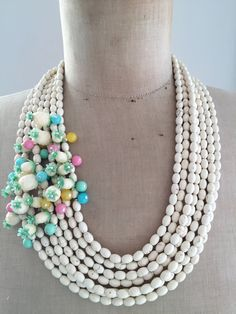 Statement Necklace Vintage Repurposed Multi Strand Pineapple by rebecca3030 on Etsy