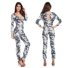 New2014 Arrivals Fashion Long Sleeve Deep V neck Women Jumpsuit Back Hollowed Out Rompers SML Party $16.99