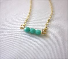 talia  turquoise czech bead bar gold necklace by by milkandcrown, $24.00