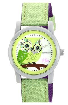 SPROUT™ Watches Owl Dial Watch, 38mm available at #Nordstrom Oooo,green owl!!!!