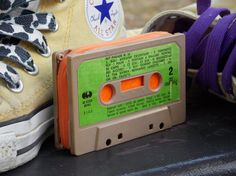 Purse made from an old cassette tape by BagnRoll on Etsy, €18.00