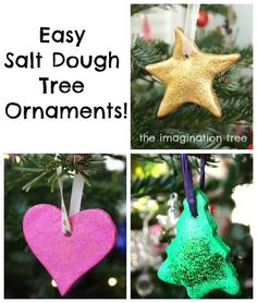 "Easy Salt Dough Ornaments Tutorial - Soo easy to make, a dough made of flour, salt, and water is flattened and customized as you wish then baked in a slow oven for a few hours to dry it out. When the ""ornaments"" are completely cooled, paint and decorate as you like.  The kids will have a blast creating and painting their own!"