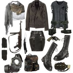 """Post apocalyptic"" by vervainn on Polyvore. At first I didn't like the gas masks, but...acid fog.:"