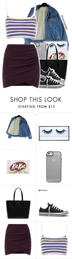 """Untitled #1282"" by melaning0ddess ❤ liked on Polyvore featuring Huda Beauty, Lacoste, Converse and Topshop"