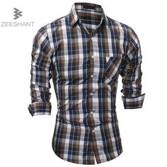 2017 Men Fashion Casual Long Sleeved Plaid Shirt Slim Fit Male Social Business Dress Shirt Brand Men Clothing Soft Chemise XXL #Affiliate