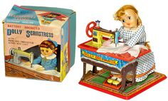 """158: Tin Toy Sewing Machine """"Dolly Dressmaker"""", 1957 : Lot 158"""