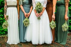 This autumnal palette: | 31 Real-Life Bridal Parties Who Nailed The Mix 'N' Match Look