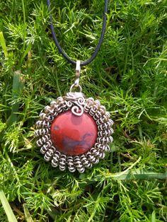 Handmade pendant red jasper and german silver. por PabloPietra