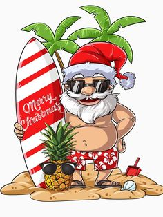 'Santa Hawaiian Surfing T Shirt Christmas Summer Surf Hawaii' T-Shirt by LiqueGifts Aussie Christmas, Christmas Yard Art, Summer Christmas, Tropical Christmas, Christmas Rock, Christmas Drawing, Coastal Christmas, Christmas Clipart, A Christmas Story