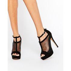 ALDO Aling Platform Mesh Heeled Sandals featuring polyvore, women's fashion, shoes, sandals, heels, black, platform shoes, aldo shoes, high heel platform sandals, black shoes and black platform sandals