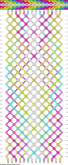 Friendship Bracelet Pattern #94608 - Arrowhead Diamond Rainbow Arrow Chevron