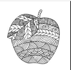 Adult coloring book page design with the image of an apple. Coloring book page for adult. Vector illustration in the style of zentangle, doodle, ethnic, tribal design. - buy this vector on Shutterstock & find other images. Apple Coloring Pages, Adult Coloring Book Pages, Printable Coloring Pages, Colouring Pages, Coloring Sheets, Coloring Books, Doodles Zentangles, Zentangle Patterns, Doodle Drawings