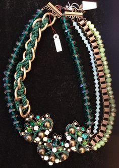 Vintage Green Swarovski Statement Necklace