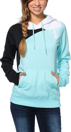 Volcom Girls Aluka Mint Pullover Hydro Tech Fleece. Because one can never have too many hoodies or too much light blue.