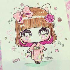 Cute Anime Chibi, Kawaii Chibi, Summer Drawings, Cute Drawings, Art Mignon, Cute Backgrounds, Anime Figures, Cute Little Girls, Cute Art