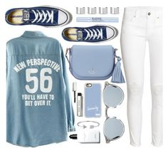 """""""Blue & White"""" by monmondefou ❤ liked on Polyvore featuring Converse, Baimomo, H&M, Kate Spade, Maison Margiela, Casetify, Bobbi Brown Cosmetics, Bling Jewelry, Elemis and white"""
