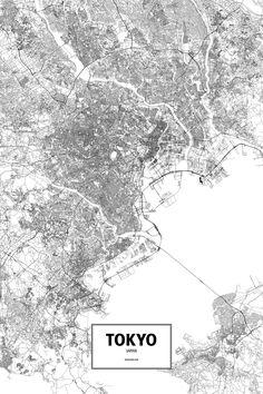 Tokyo topography map print