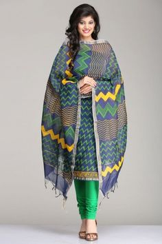 Stunning Blue Unstitched Kurta & Dupatta Set With Green Zigzag Striped Pattern Hand Block Print & A Gold Zari Border