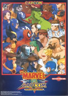 The Arcade Flyer Archive - Video Game Flyers: Marvel vs. Capcom - Clash of Super Heroes, Capcom Playstation, Marvel Vs, Marvel Comics, Street Fighter, Videogames, Sega Game Consoles, Pc Engine, Video Game Posters, Retro Video Games
