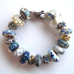 """Blue Velvet"" Trollbeads Bracelet by Tartooful, inspired by the beautifully worn velvet of an antique jewellery box"