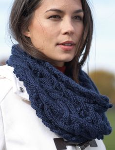 Get tangled up in the Mystic Vines Cable Cowl. This intricate cable knit cowl pattern is a beautiful cold weather knit to add to your fall and winter wardrobe. The pattern uses Bernat Satin Sparkle, which adds an extra shimmer to your knitting. Cable Cowl, Knit Cowl, Knitted Shawls, Lace Shawls, Knitting Scarves, Knitted Gloves, Crochet Scarves, Knitting Patterns Free, Knit Patterns