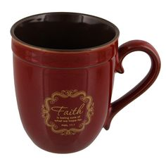 Red 'Faith' Inspirational Mug - Hebrews 11:1 * Check out the image by visiting the link.