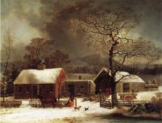 Winter Scene in New Haven Connecticut 1858 Artist: George Henry Durrie