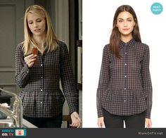 Stevie's checked peplum shirt on Madam Secretary.  Outfit Details: http://wornontv.net/53250/ #MadamSecretary